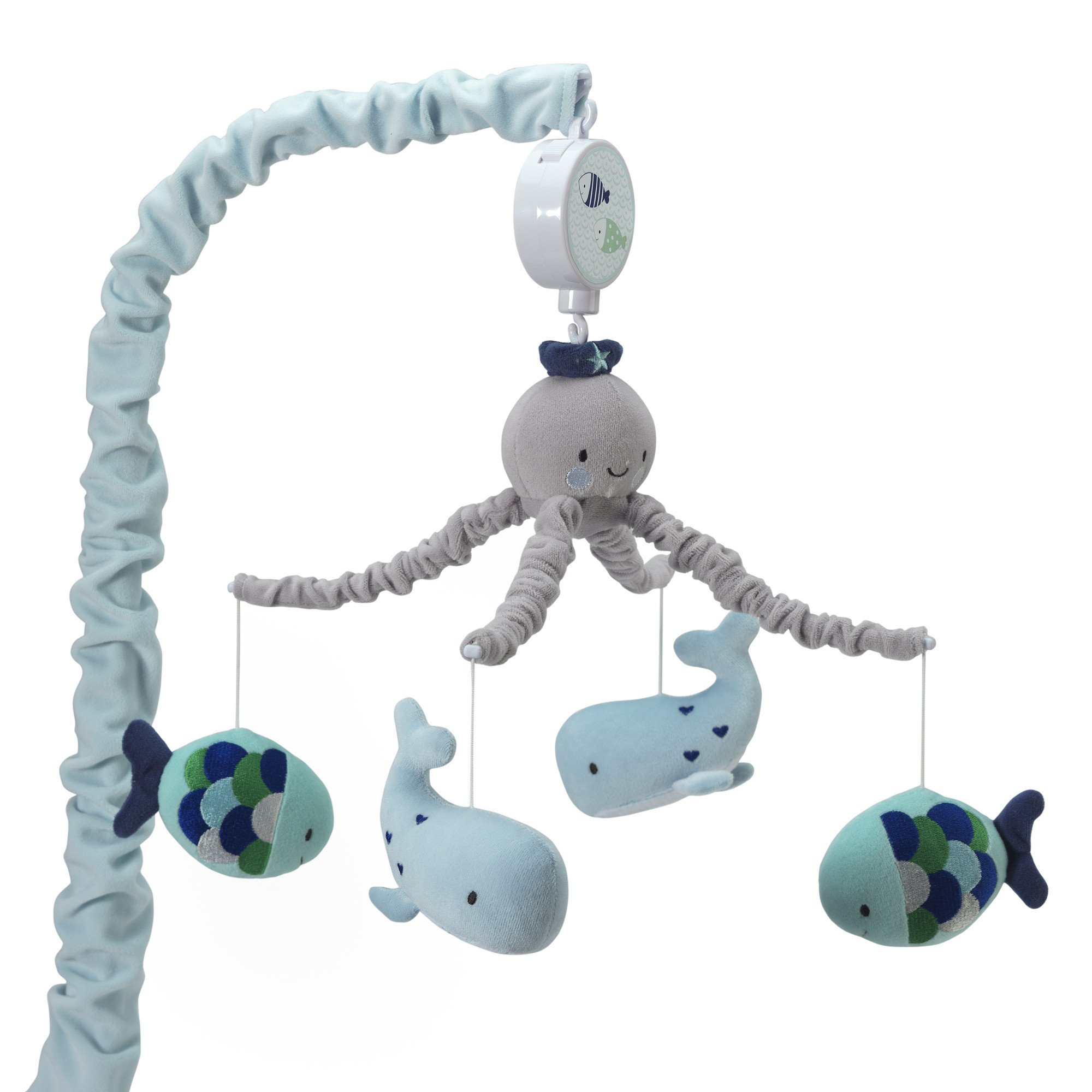 Lambs & Ivy Oceania Blue/Gray Whale/Fish Nautical/Ocean Musical Baby Crib Mobile