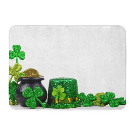 GODPOK Green Clover St Patricks Day Pot of Gold Shamrocks and Leprechaun Hat Corner Border Over White Leaf Rug Doormat Bath Mat 23.6x15.7 inch