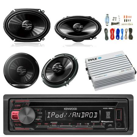 Kenwood KDC168U Car Radio USB AUX CD Player Receiver - Bundle Combo With 2x 250W 6x8