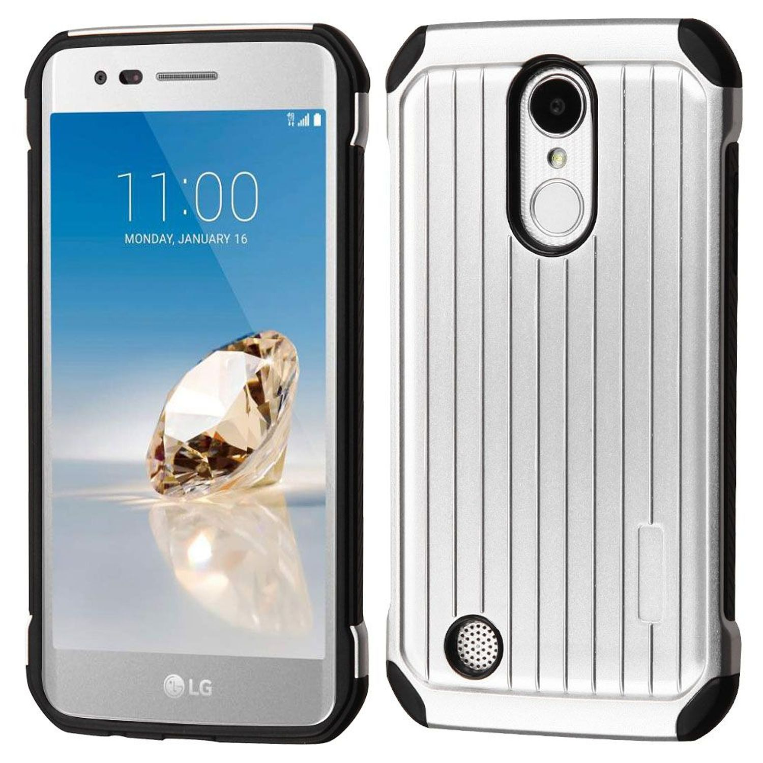 LG Phoenix 3 phone case LG Aristo case LG K8 2017 case by Insten Suitcase Dual Layer Hybrid Hard Plastic/Soft TPU Rubber Case Cover For LG Aristo/Fortune/K8 (2017)/LV3/Phoenix 3, Silver/Black