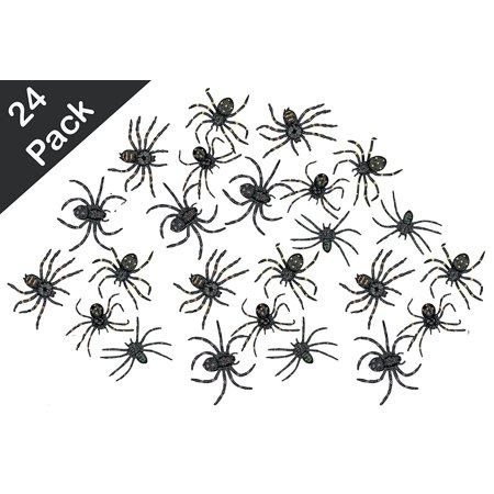 Stretchy Spider 2 Inches - Pack Of 24 – Black With Assorted Colors Dots – For Kids Great Party Favors, Bag Stuffers, Fun, Prank, Halloween, Toy, Gift, Prize, Piñata Fillers - By Kidsco - The Best Halloween Pranks