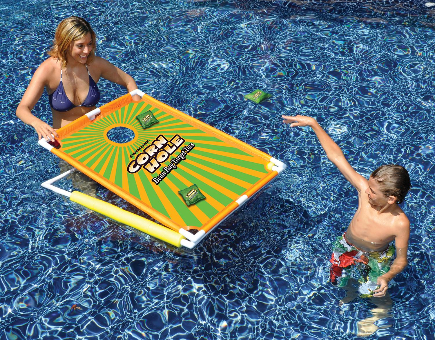 Inflatable Corn-Toss Board /& Floating Bean Bags for Pool Drive Way Games Floating Cornhole Set Water Lake