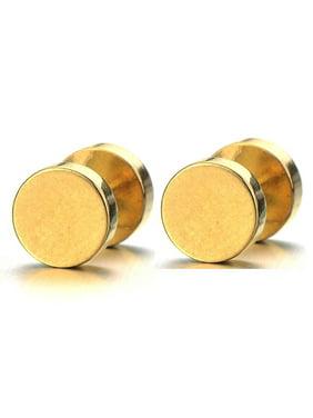 Round Barbell Dumbbell Stainless Steel Mens Designer Jewelry Bolt Stud Earrings (Black,12mm)