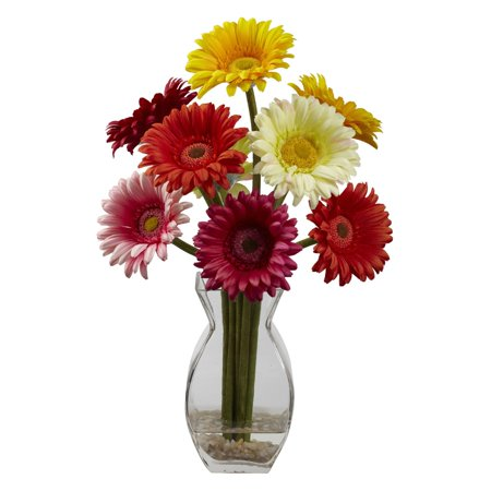 Nearly Natural Gerber Daisy with Vase Arrangement, Assorted