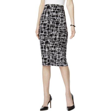 ALFANI Womens Printed Single Vented Pencil Skirt BLACK (Alfani Single)