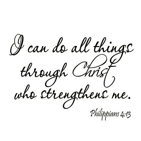 VWAQ I Can Do All Things Through Christ Who Strengthens Me Philippians 4:13 Wall Decal Bible Scripture Christian Wall Art Quote Lettering Mural (Jesus Wall)