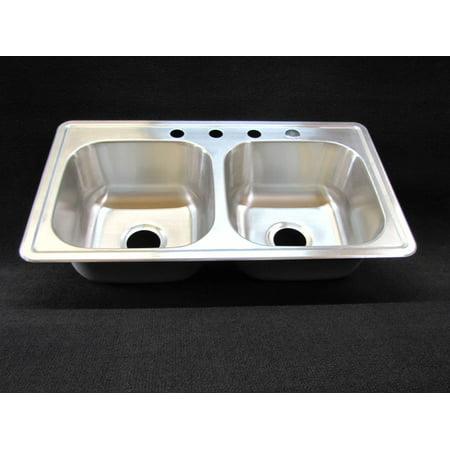 33 X 19 X 8 Extra Deep Double Bowl Kitchen Sink Stainless