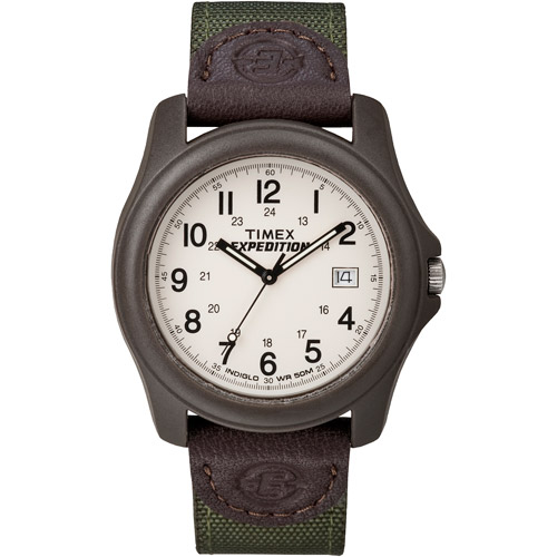 Timex Men's Expedition Camper Watch, Green Nylon/Leather Strap