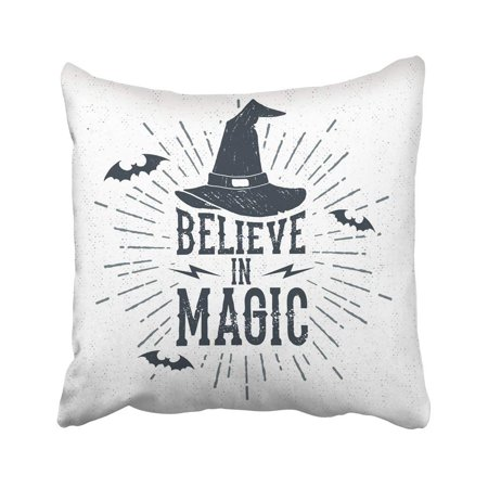 ARTJIA Black Quote Halloween Label With Witch Hat And Believe In Magic Lettering White Hand Pillowcase Cover 18x18 inch (Halloween Party Quotes Tumblr)