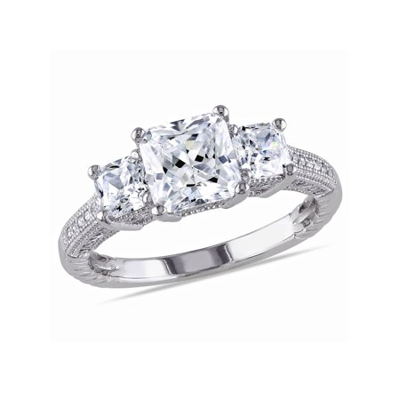 Plastic Engagement Ring (5-1/6 Carat T.G.W. Square and Round-Cut Cubic Zirconia Sterling Silver Three Stone Engagement)