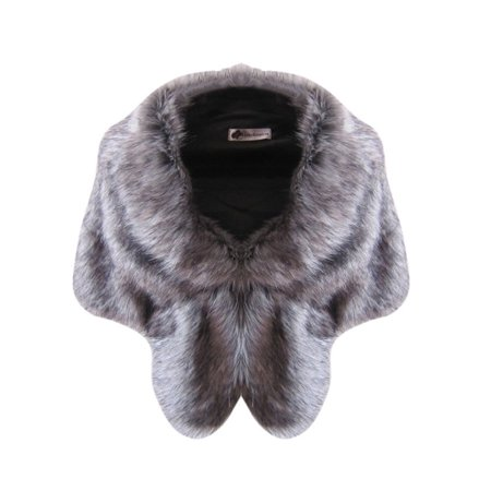 Womens Warm Faux Fox Fur Shawl Stole Wrap Shrug Scarf