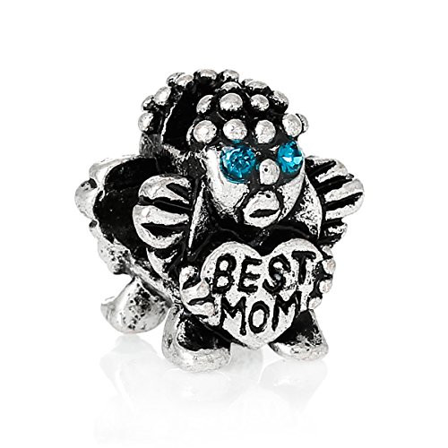 Child Holding Best Mom Heart with Blue Rhinestones Bead Compatible for Most European Snake Chain Braceletpacer