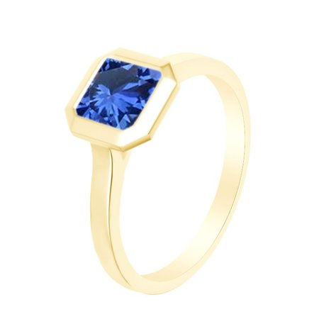 Asscher Cut Simulated Blue Sapphire Solitaire Band Ring 14k Yellow Over Sterling Silver (1.25 Cttw)-11 Asscher Sapphire Ring