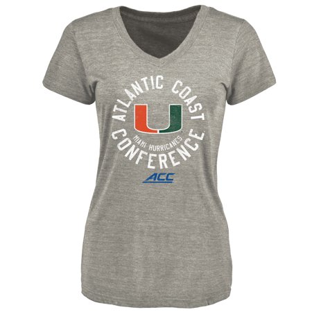 - Miami Hurricanes Women's ACC Gear Conference Stamp Tri-blend V-Neck T-Shirt - Gray