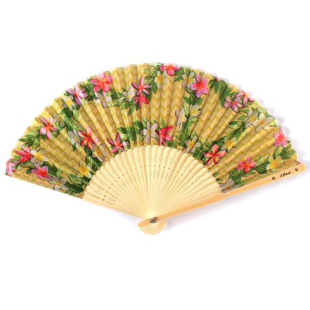 Hawaii Luau Party Favors Wedding Fabric & Wood Folding Hand Fan in Plumeria with Bamboo 2 Pack