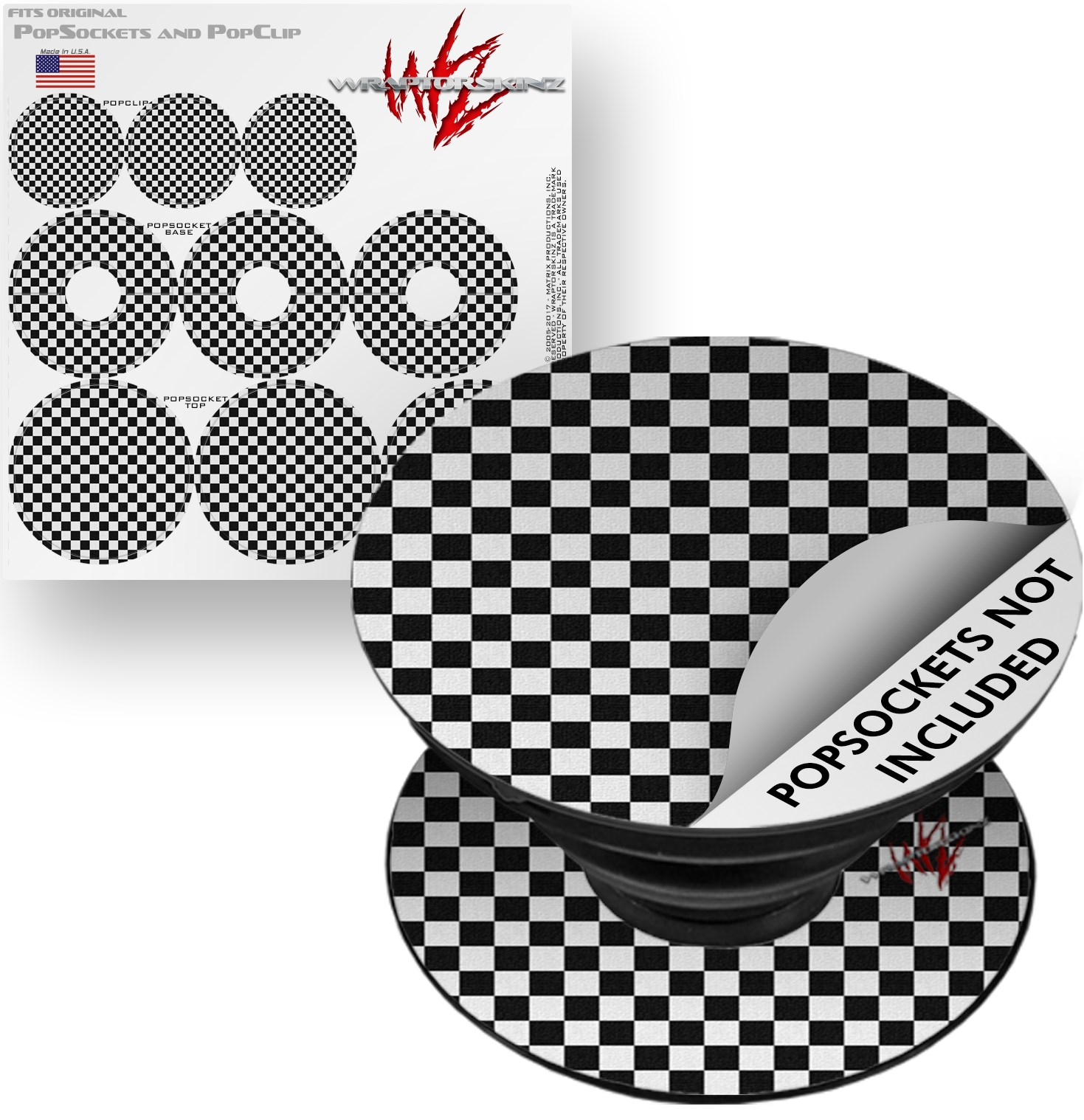 Decal Style Vinyl Skin Wrap 3 Pack for PopSockets Checkered Canvas Black and White (POPSOCKET NOT INCLUDED) by WraptorSkinz