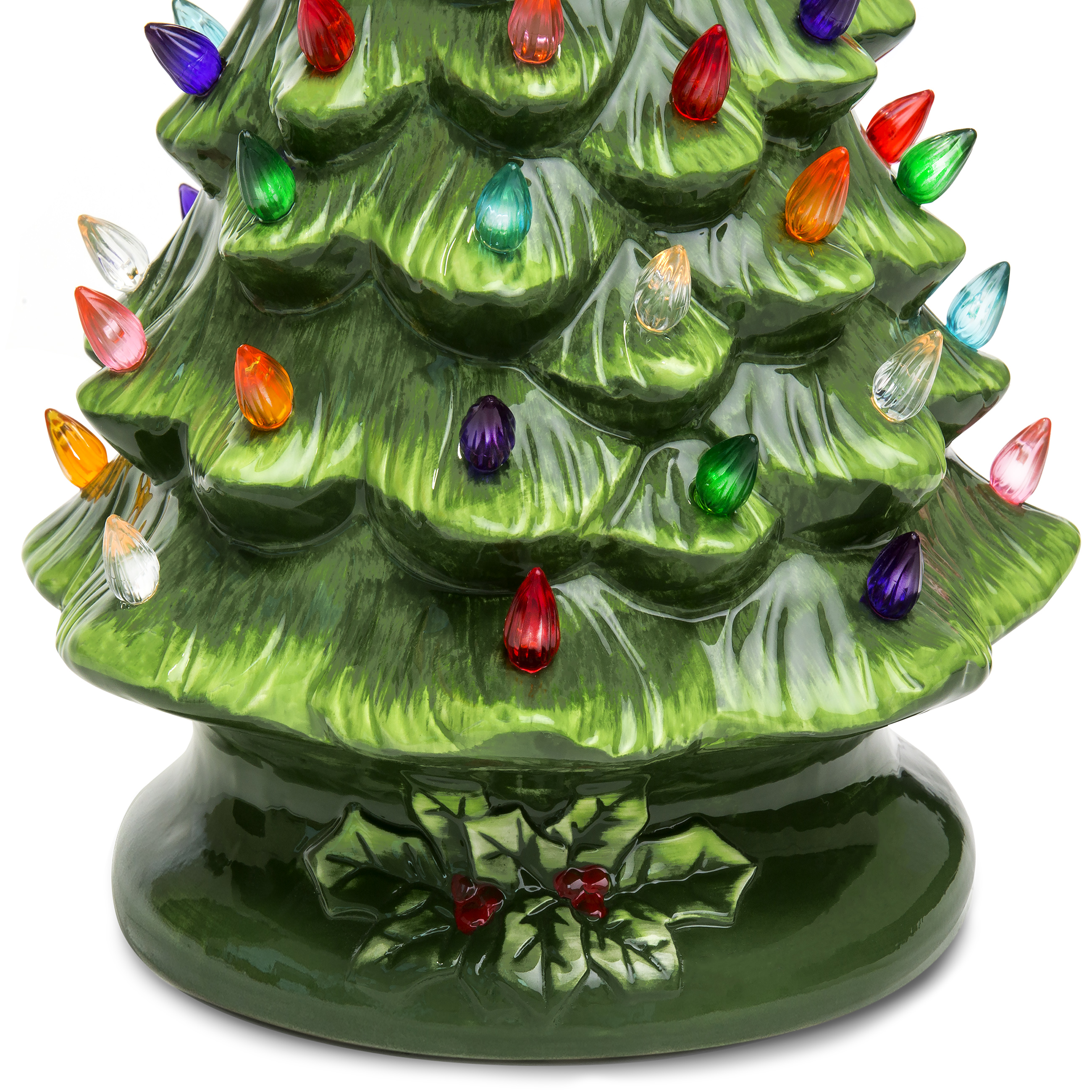 best choice products 15in pre lit hand painted ceramic tabletop christmas tree w 50 lights star topper green walmartcom