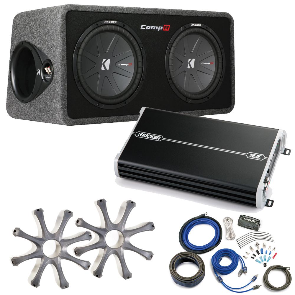 Kicker Comp R Sub Box 40DCWR122 + Kicker 1500 Watt Amp Pa...
