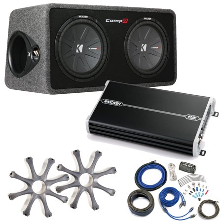 Kicker Comp R Sub Box 40DCWR122 + Kicker 1500 Watt Amp Package w/ Grilles & Kit (1500 Watt Kicker Amp)