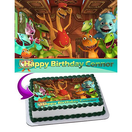 Dinosaur Train Edible Cake Topper Personalized 1/2 Size Sheet Decoration Party Birthday Sugar Frosting Transfer Fondant - Dinosaur Train Birthday Party