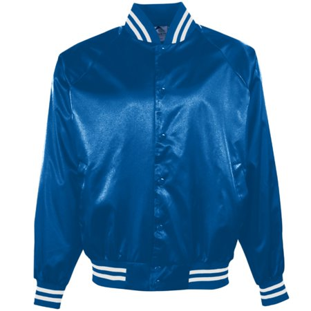 Augusta 3610 Satin Baseball Striped Trim Jacket (New Cardinal Satin Baseball Jacket)