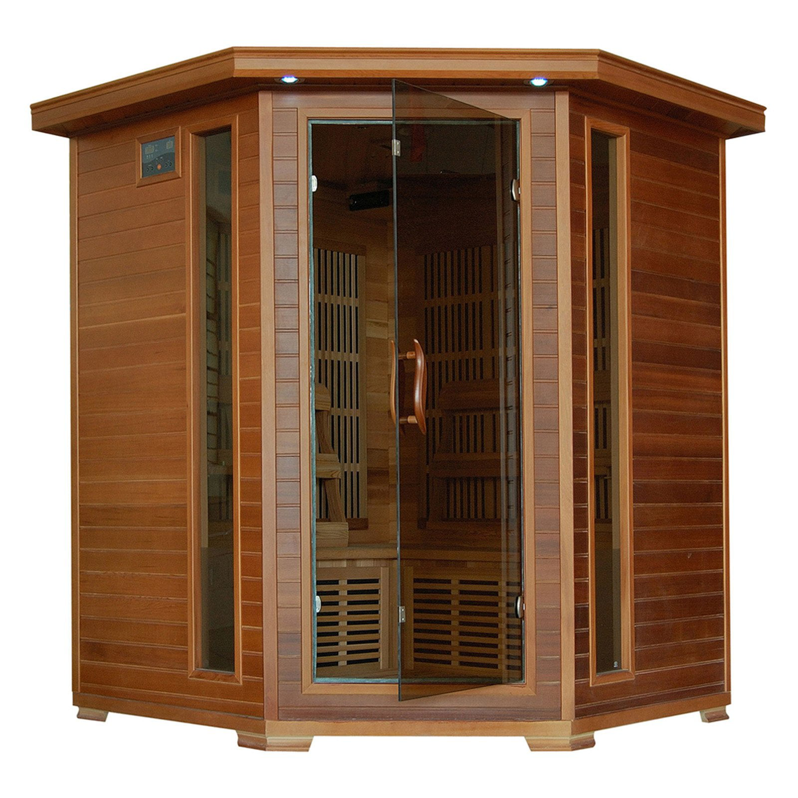 Radiant Sauna 4 Person Cedar Corner Infrared Sauna by Saunas