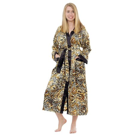 Up2date Fashion's Women's Beige Animal Print Long Robe with Pockets