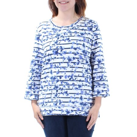 KAREN SCOTT Womens Blue Cuffed Floral 3/4 Sleeve Jewel Neck Top  Size: (Karen Jewel)