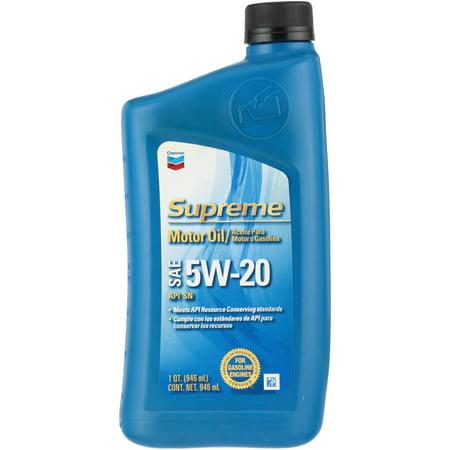 (3 Pack) Chevronî Supreme SAE 5W-20 API SN Motor Oil 1 qt. - Oil 1 Quart Bottle