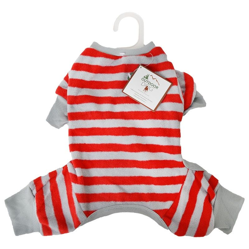 Fashion Pet Lookin Good Striped Dog Pajamas - Red Medium - (Fits 14-19 Inch Neck to Tail)