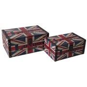 2-Pc Wooden Box Set with Union Jack Design