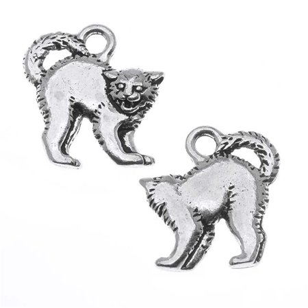 Antiqued Silver Lead-Free Charm - Spooky Cat Halloween 18mm - Antique Halloween