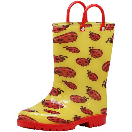 Norty Toddlers Little Big Kids Boys Girls Waterproof PVC Rain Boots - 10 Colors, 41264 Yellow & Red Lady Bugs / 10MUSToddler