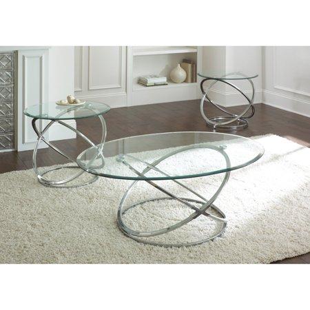 Steve Silver Orion Oval Chrome and Glass Coffee Table Set - Walmart.com