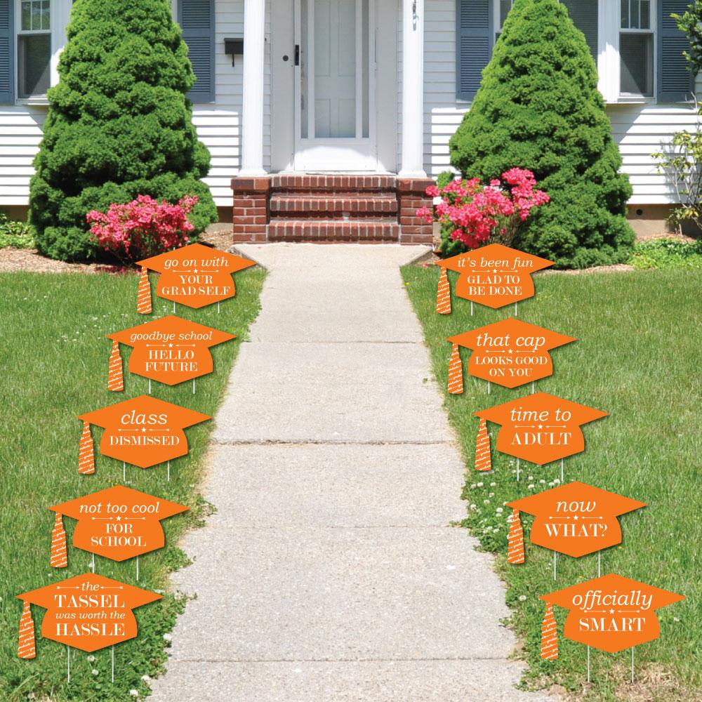 Orange Grad Caps - Shaped Outdoor Grad Lawn Decor - Graduation Party Yard Signs – 10 Piece