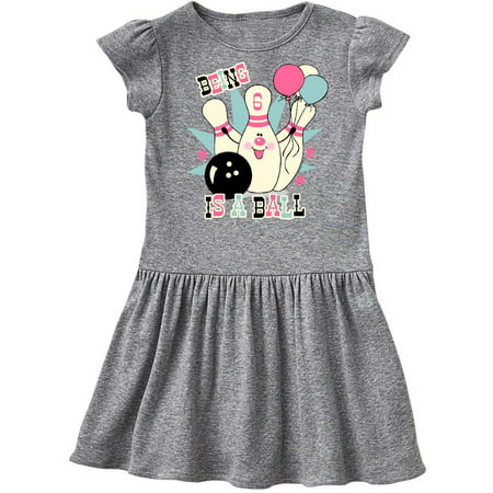 896302c27 Inktastic - Pink Bowling Pin 6th Birthday Toddler Dress - Walmart.com