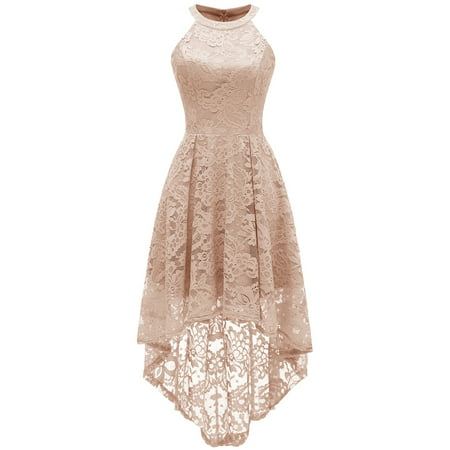 Cocktail Bridesmaids Dresses - Market In The Box Women's Halter Hi-Lo Floral Lace Dress Bridesmaid Party Cocktail Dresses