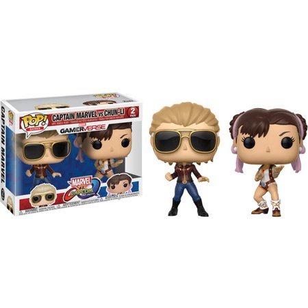 FUNKO POP! GAMES: MarvelVCapcom 2PK - CaptMarvel vs Chun-Li](Chun Li Kiss)