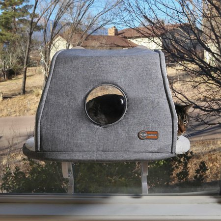 """K&H Universal Mount Kitty Sill with Hood Gray 14"""" x 24"""""""