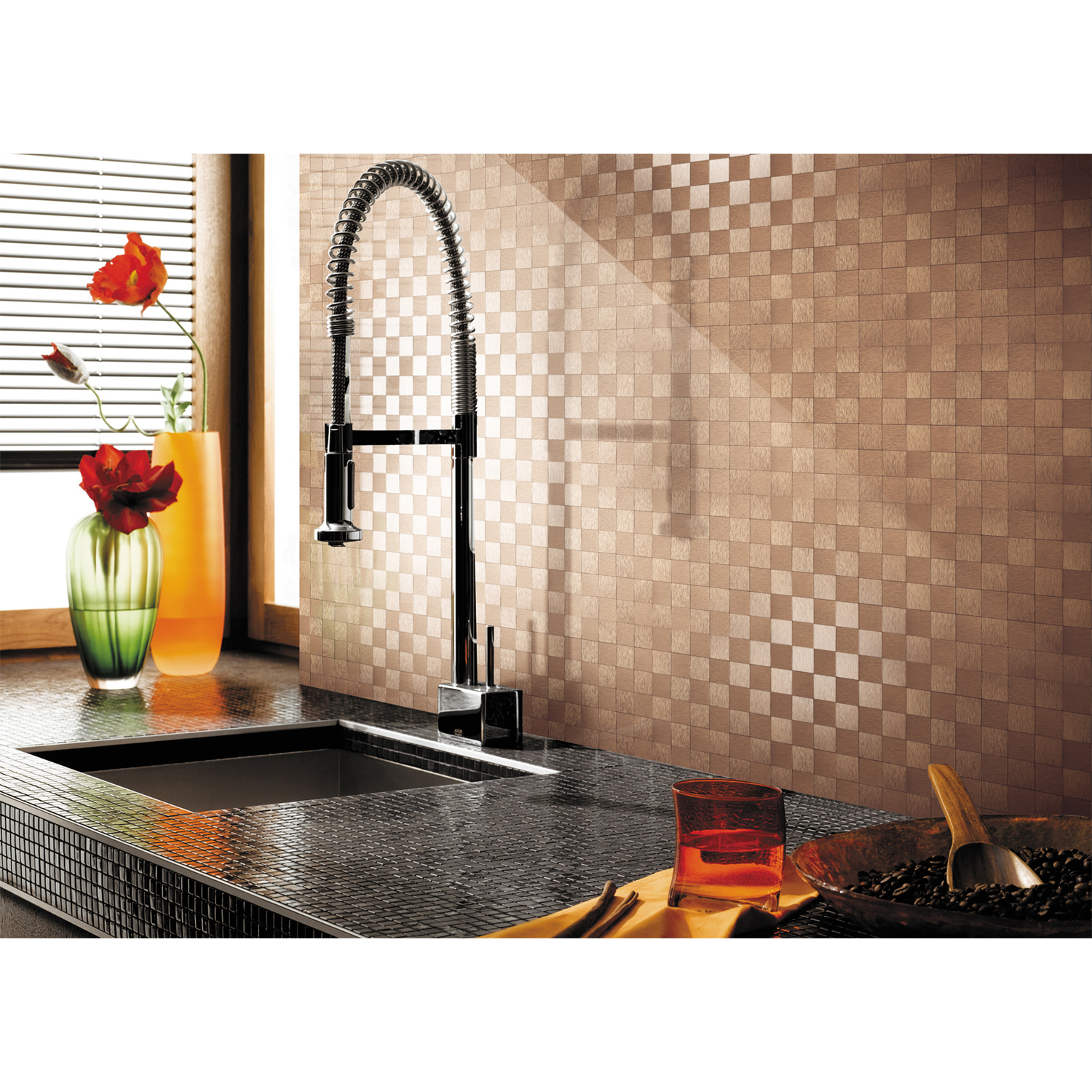 "Art3d Peel and Stick Metal Backsplash Peel and Stick Kitchen Tile, 12"" x 12"" Copper"