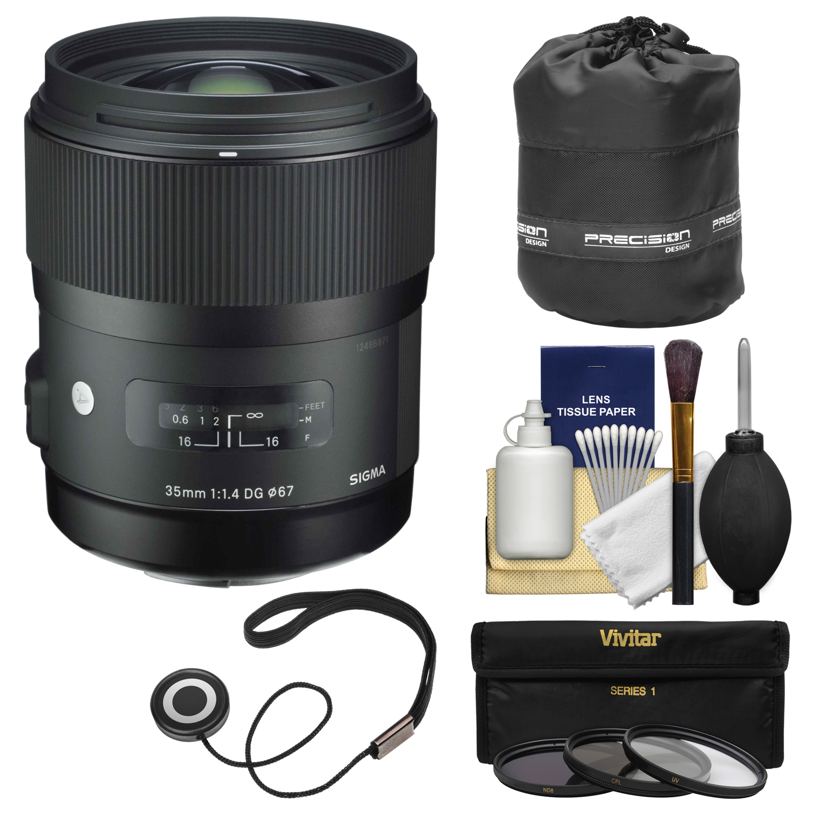 Sigma 35mm f/1.4 Art DG HSM Lens for Canon EOS DSLR Cameras with Pouch + 3 UV/CPL/ND8 Filters + Kit