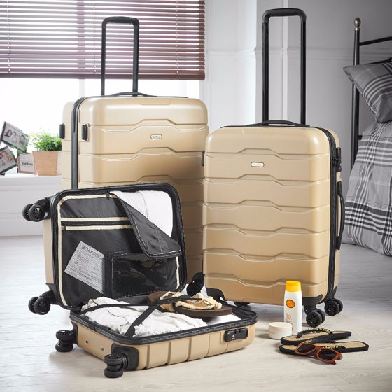 57596d52dac9 Premium Champagne 3 Piece Lightweight Travel Luggage Set - Hard Shell  Suitcase with 4 Spinner Wheels, TSA Integrated Lock, Extendable Handle -  Small, ...