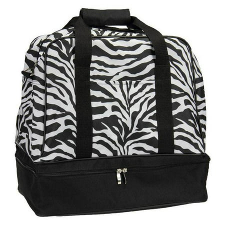 Household Essentials Zebra Print Weekender Bag with Shoe Pocket and Expandable Shoulder Strap