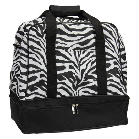 Household Essentials Zebra Print Weekender Bag with Shoe Pocket and Expandable Shoulder Strap (Zebra Print Shoulder Bag)