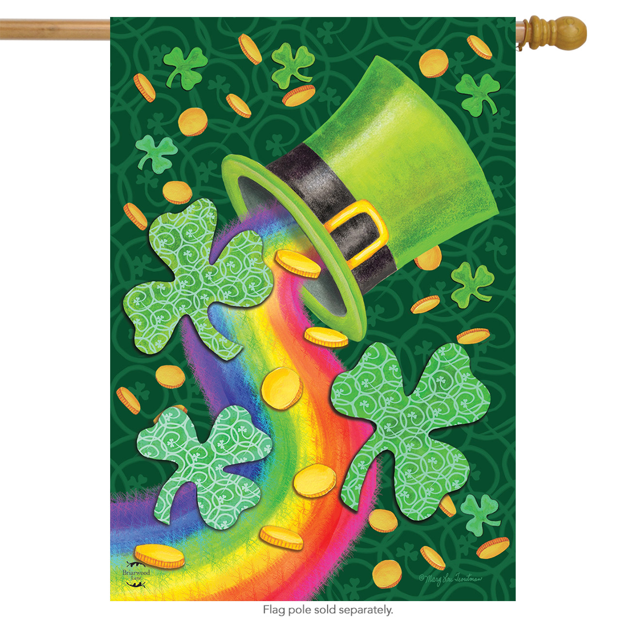 "St. Patrick's Luck House Flag Rainbow Shamrocks 28"" x 40"" Briarwood Lane"