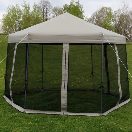 Sunnydaze Penthouse Hexagon Gazebo, Quick-Up Instant Outdoor Patio Canopy with Mesh Screen Sides and Rolling Bag, 12 Foot, Grey ()