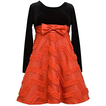 Bonnie Jean Tween Girls Velvet Chevron Bonaz Bow Holiday Dress, - Tween Holiday Dresses