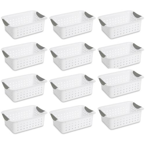 12) Sterilite 16228012 Small Ultra Plastic Storage Bin Organizer Baskets -White