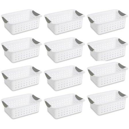 12) Sterilite 16228012 Small Ultra Plastic Storage Bin Organizer Baskets -White by