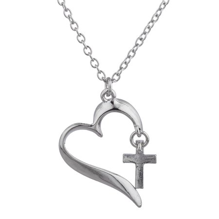 Lux Accessories Silver Tone Small Cross In Heart Shaped Pendant Chain Necklace
